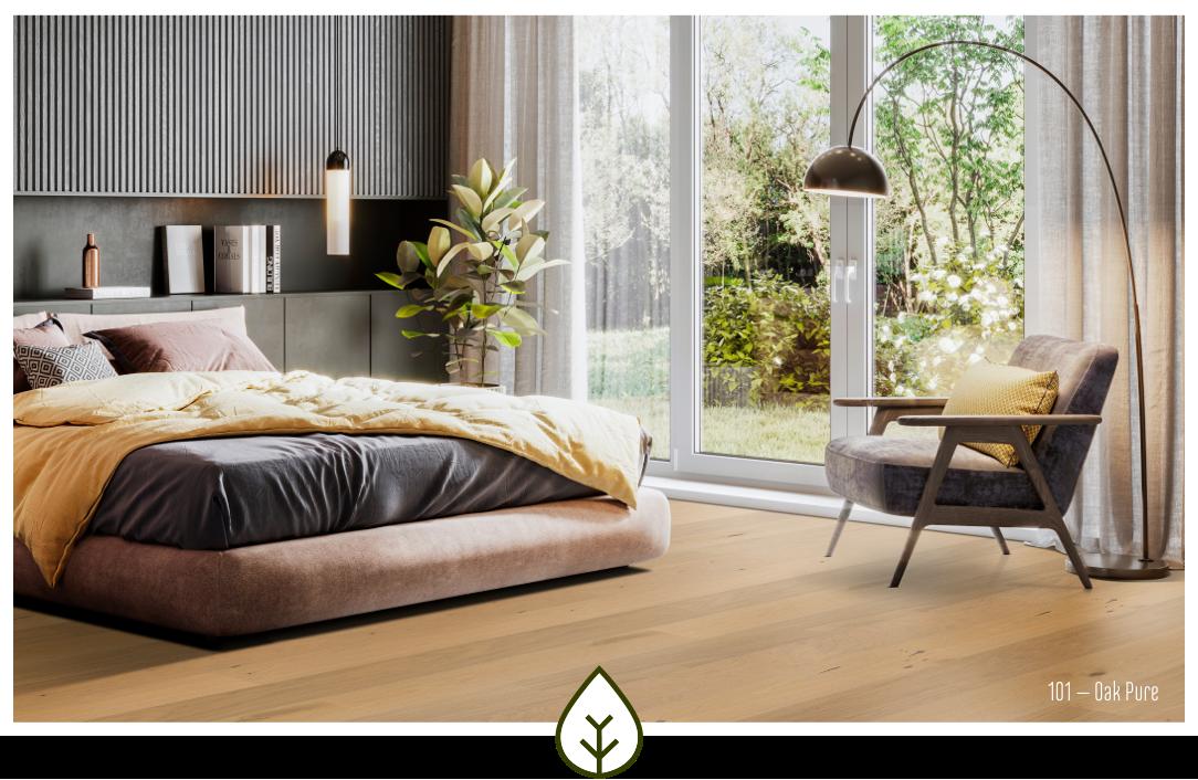 Ökobesserboden Oak Pure von susify mit einzigartigen Dekoren auch fürs Schlafzimmer