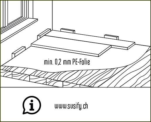 Verlegeanleitung susify: PE-Folie als Dampfbremse