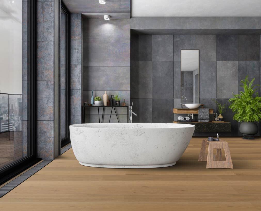 Ökobesserboden Oak Mist von susify im Badezimmer