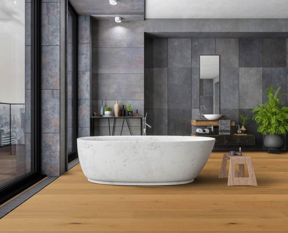 Ökobesserboden Oak Pure von susify im Badezimmer